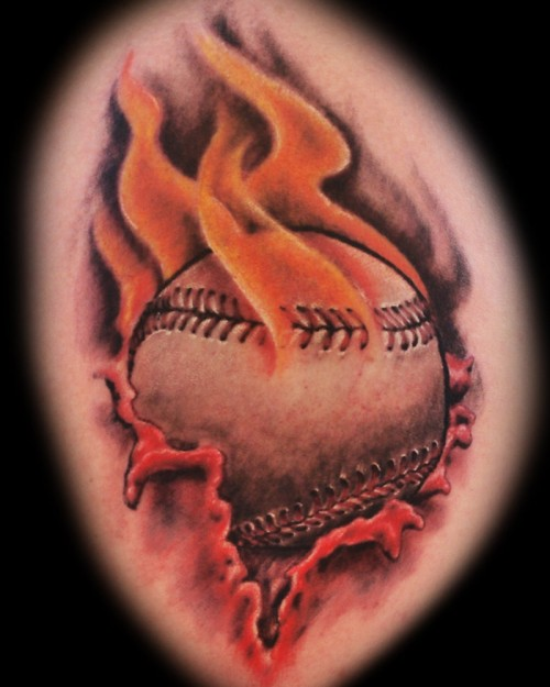 Flaming Baseball tattoo