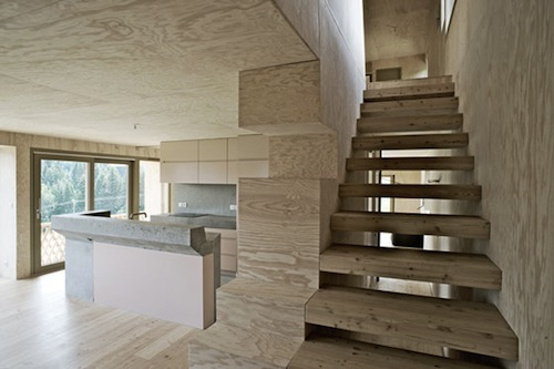 Plywood and concrete staircases