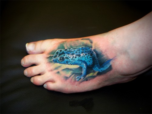 Realistic Poison Dart Tree Frog Tattoo