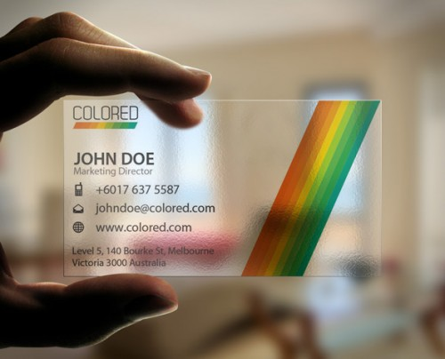 Transparent Colored Business Card
