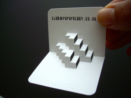 3-d business card series X - inverted steps