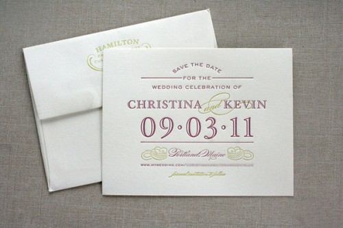 Classic Aubergine + Chartreuse Save the Dates