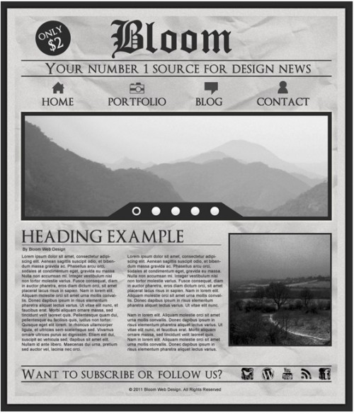 Design a Grungy Newspaper Web Layout in Photoshop