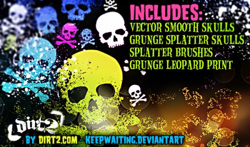 40 Grunge Skull-Splatter Brushes