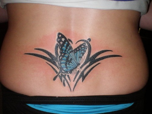 Butterfly Lower Back Tribal Tattoos
