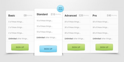 Amazing Pricing Table PSD