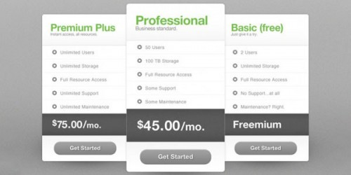 Free Package Pricing PSD