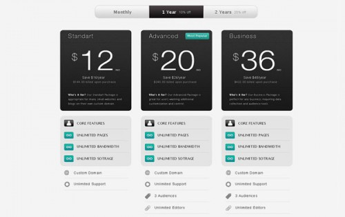Strada Pricing Table PSD