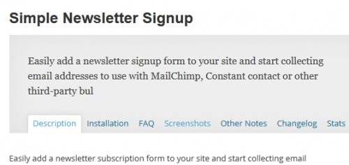 Simple Newsletter Signup