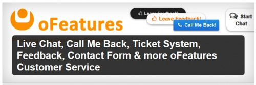 Live Chat, Feedback, Contact Form & more oFeatures Customer Service