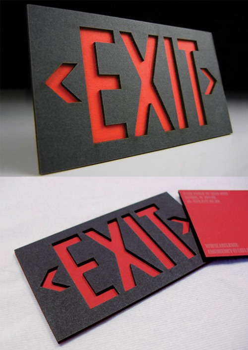 Red And Black Layered Laser Cut Business Card Designs