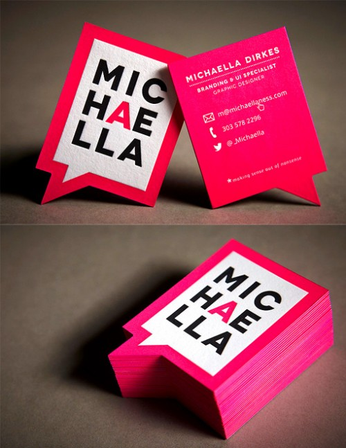 Neon Pink Die Cut Business Card Designs