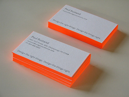 Orange Color Neon Business Cards